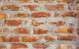 Background of red and brown color textured brick wall. royalty free stock images