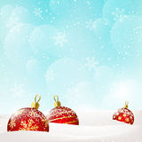 Background with red Christmas balls Royalty Free Stock Photos