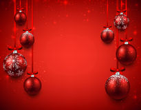 Background with red christmas balls. Royalty Free Stock Photos