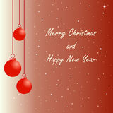 Background with red christmas balls. Christmas ornaments on red background with text merry christmas and happy new year vector illustration