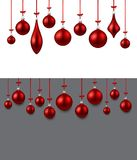 Background with red Christmas balls. Two New Year backgrounds with red Christmas balls. Vector illustration Royalty Free Stock Photography