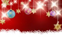 Background with red christmas baubles. Stock Image