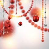 Background with red christmas baubles. Stock Photos