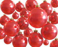 Background of red christmas shiny balls  isolated Stock Images