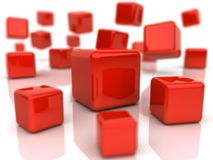 Background with red cubes Stock Photos