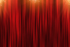 Background with red curtain and golden stars