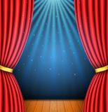 Background with a red curtain and a spotlight. stock illustration