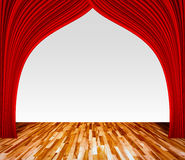 Background with red curtain and wooden floor interior background. Interior template for product display, interior theater, interior stage background Royalty Free Stock Photography