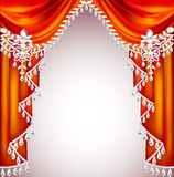 Background with red curtains with precious stones for invitatio Stock Photo