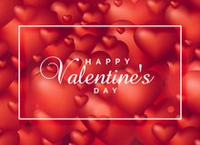 Background of red 3d hearts for valentine`s day. Illustration Royalty Free Stock Photos