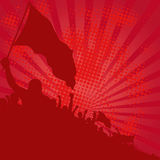 Background. Red background with demonstrators - vector illustration Stock Images
