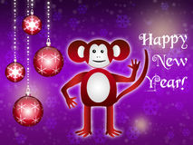 Background with Red Fiery Monkey. Illustration for Chinese New Year 2016 Royalty Free Stock Photos