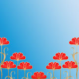 Background with red flovers Royalty Free Stock Photography