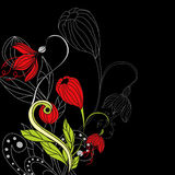Background with red flowers Stock Photo
