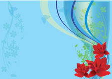 Background with red flowers on blue Stock Images