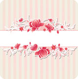 Background with red flowers and strips Stock Photography