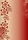Background with red flowers and waves on red gradient Royalty Free Stock Photography