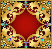 Background with red gems and gold ornaments. Illustration background with red gems and gold ornaments Royalty Free Stock Photography