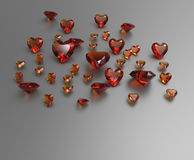 Background with red gemstones. 3D illustration stock photos