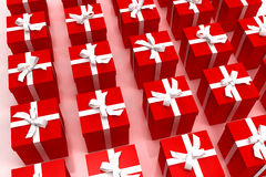 Background of red giftboxes. Background of red gift boxes with red ribbons neatly arranged royalty free illustration