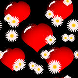 Background with red glass hearts and flowers Stock Images