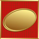 Background. Red and gold background with oval frame Royalty Free Stock Photos