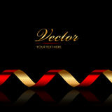 Background with red & gold ribbon Royalty Free Stock Photography