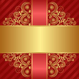 Background. Red background with golden ornaments Stock Photography