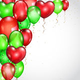 Background with red and green balloons and serpentines Royalty Free Stock Photography