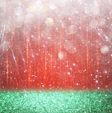 Background of red and green bokeh lights. christmas concept Royalty Free Stock Photos