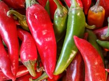 Background of red and green chilli Stock Photos