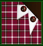 Background red-green plaid with buttons. Abstract background: red-green plaid with brown buttons and white lace Royalty Free Stock Photography
