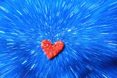 Background of Red heart on Blue Shine - Abstract Art of Color and Screensaver Royalty Free Stock Photo