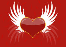 Background - red heart with white wings Stock Images