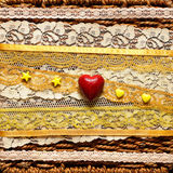 Background with red hearts. Birthday background with red hearts and yellow beads Stock Image