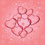 Background with red hearts. Stock Photo