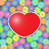Background with red hearts and flowers Stock Photography