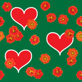 Background with red hearts and orange flowers. Valentine's day abstract green background with red hearts and orange flowers. Seamless pattern. Vector Stock Illustration