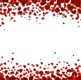 Background with red hearts. Romantic square background with red hearts. Vector illustration Stock Photography