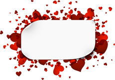 Background with red hearts. Romantic background with red hearts. Vector paper illustration Stock Photo