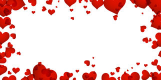 Background with red hearts. Romantic background with red hearts. Vector paper illustration Stock Image