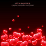 Background with red hearts. Vector background Stock Image
