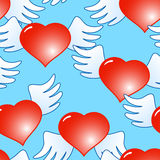 Background of red hearts with wings. Valentine's day blue abstract background of red hearts with wings. Seamless pattern. Vector illustration Stock Illustration