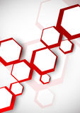 Background with red hexagons Stock Images