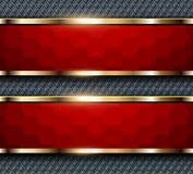 Background red hexagons. Banners with gold elements, elegant vector business background Royalty Free Stock Images