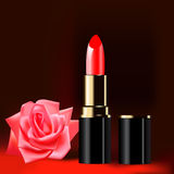 Background with red lipstick and a rose Stock Photo