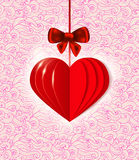 Background with red  paper heart Stock Image