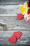 Background with red polka dot hearts Royalty Free Stock Images