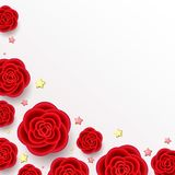 Background with red realistic flowers. Background with realistic flowers. 3d effect, red roses and golden stars on white backdrop. Romantic composition with Stock Photography