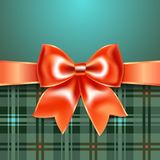 Merry Christmas background with red ribbon bow, 10eps. Background with red ribbon bow, 10eps. Perfect as invitation or congratulation Royalty Free Stock Photos